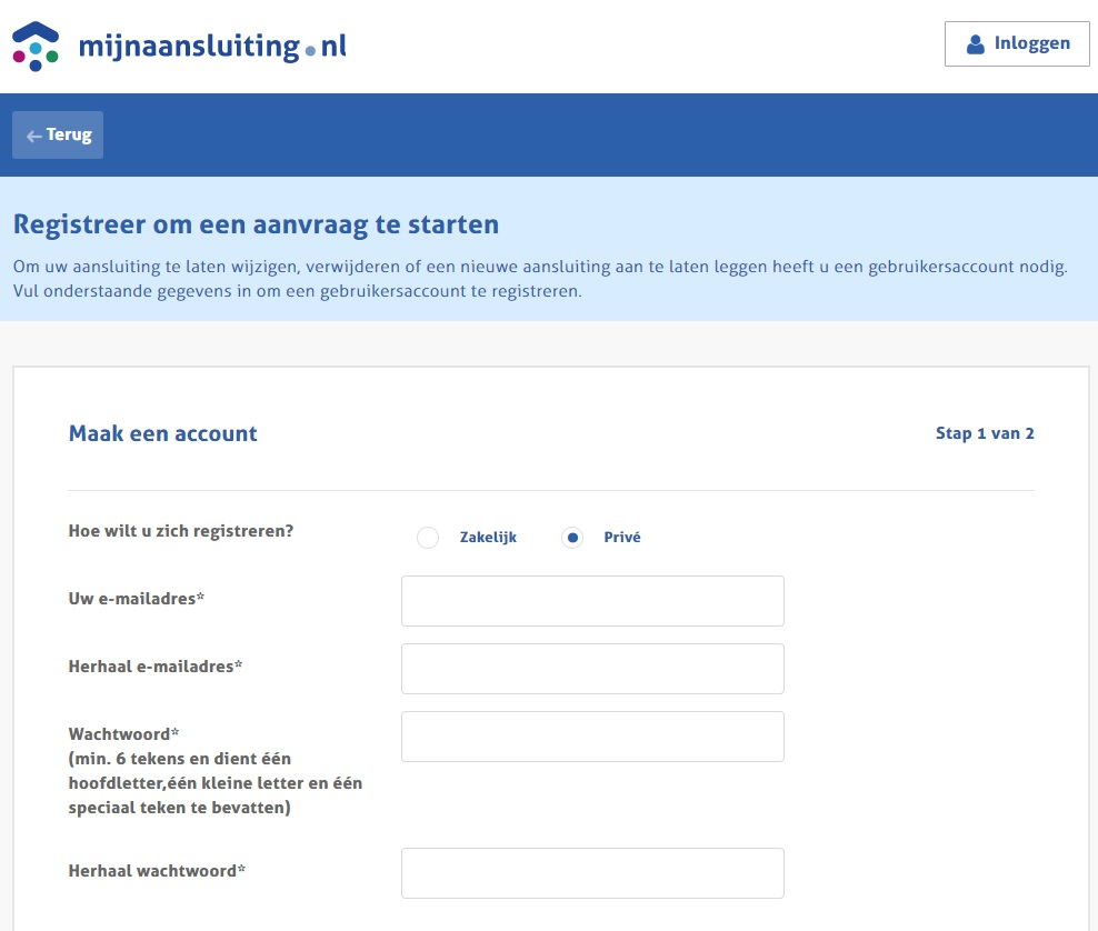 screenshot www.mijnaansluiting.nl